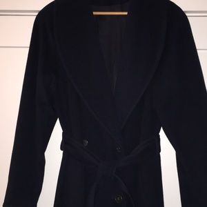 Coat w/shawl collar, belted navy wool winter